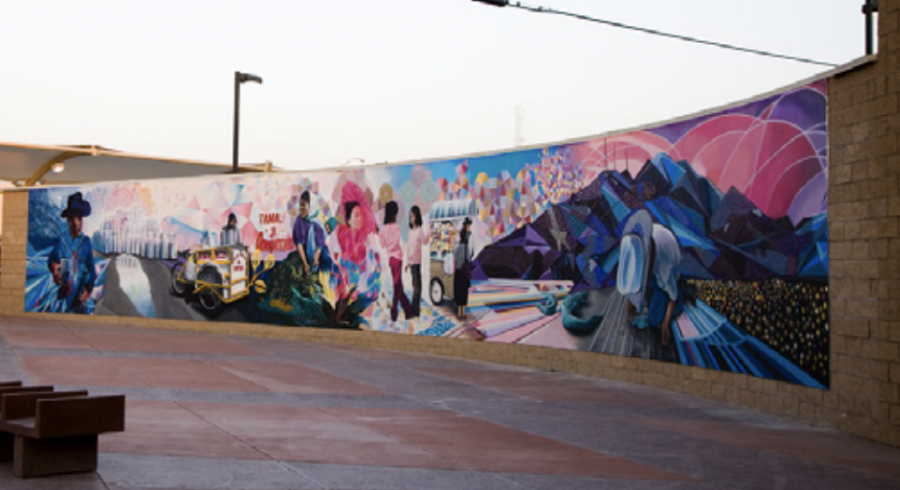 """The mural titled, El Paso Port-All, was created by Jari """"WERC"""" Alvarez in 2012. It represents new and old icons in new ways giving the viewer multiple experiences. The Stanton Port of Entry is one out of three area bridges that connect the United States-Mexico border of El Paso, TX. and Cd. Juarez, representing a bi-national and bi-cultural relationship with the neighboring city of Cd. Juarez."""