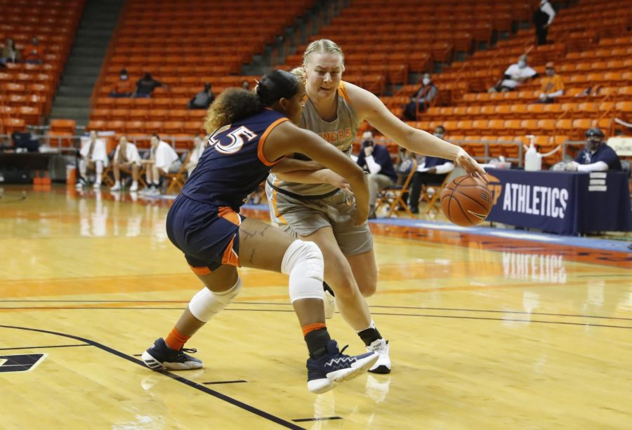 Junior UTEP guard Sabine Lipe  works past  defender against UTSA Jan. 30.