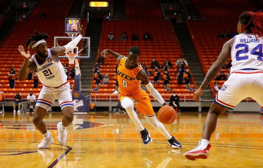 UTEP junior guard Souley Boum attempts to drive the lane against Louisiana Tech Jan. 22.