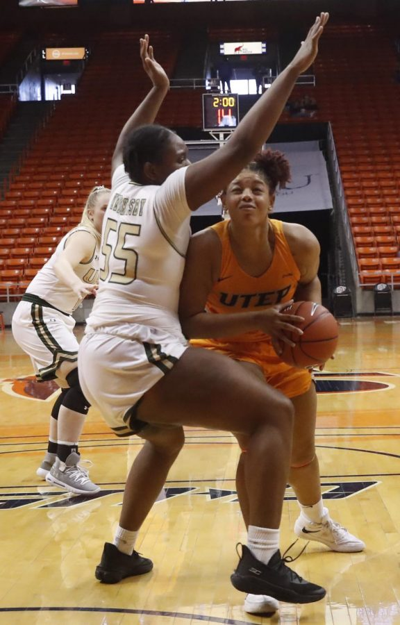 UTEP senior center Michelle Pruitt drives hard to the basket versus UAB Feb. 5.