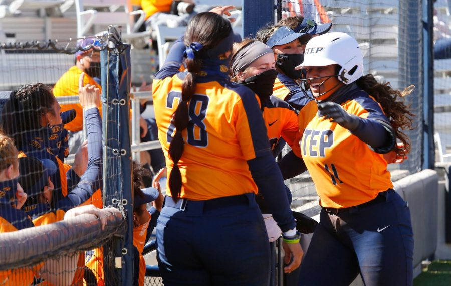 UTEP+softball+team%2C+celebrates+its+first+victory+of+the+season+over+Northern+Colorado+Feb.+19.
