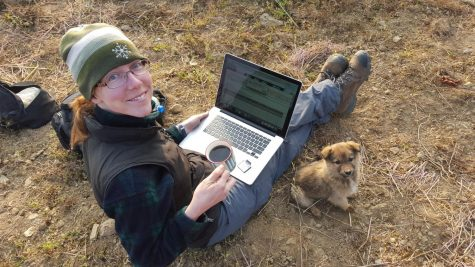 Marianne Karplus downloading data from a seismometer that she deployed in Nepal in Jan 2016.