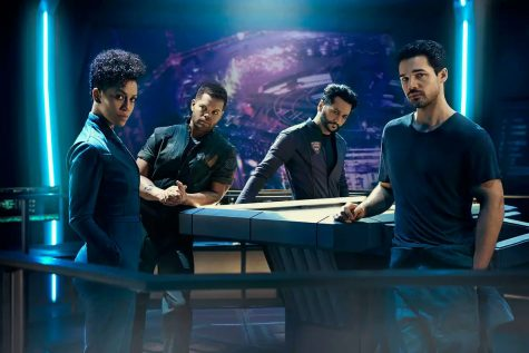 The crew of the good ship Rocinante: Naomi Nagata, Amos Burton, Alex Kamal and James Holden. The Expanse Season 2 Preview Gallery via Syfy