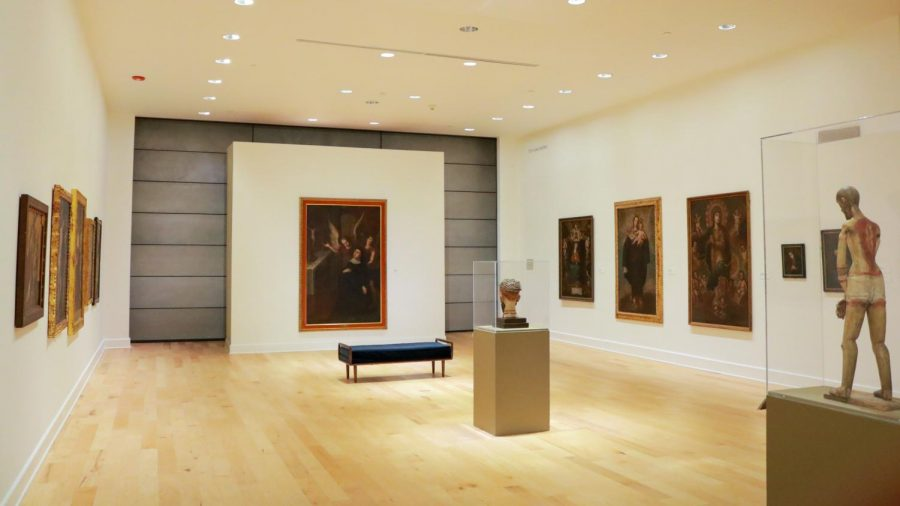 The Latin American exhibit features paintings and sculptures from the Spanish Colonial Era.