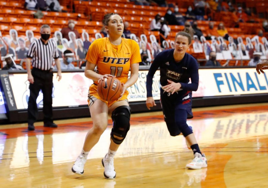 UTEP sophomore transfer guard Destiny Lopes lines up for a jump shot against Florida Atlantic Feb. 22.