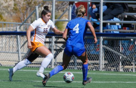UTEP sophomore Tessa Carlin goes on the offense against a Louisiana Tech defender in a 2-1 overtime win Feb. 28.