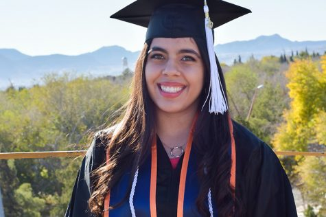 Aylin Duarte, 21, the newest recipient of the Fulbright award, who will be graduating in her graduation's cap and gown in Spring 2020.