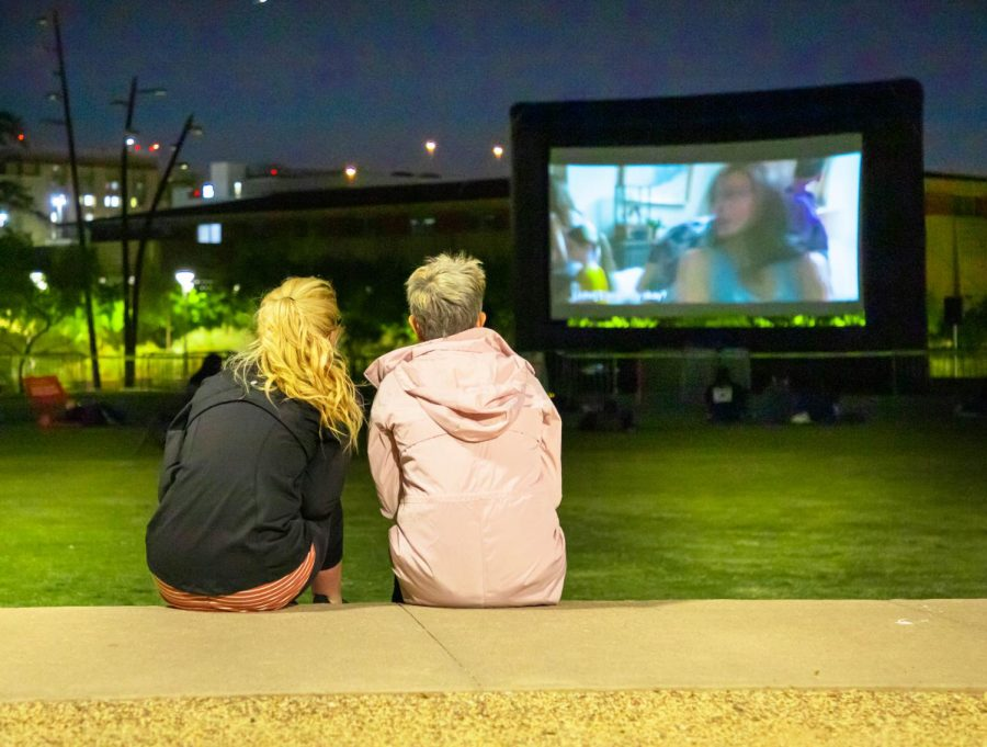 People were welcomed at UTEP's Centennial Plaza for a movie on the lawn, hosted by the Student Engagement and Leadership Center on April 13, 2021.