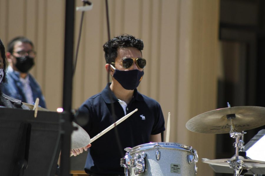 Bert Villegas plays the drums with the UTEP Jazz band at the Music On The Plaza on March 9th 2021 at the UTEP Fox Fine Arts center