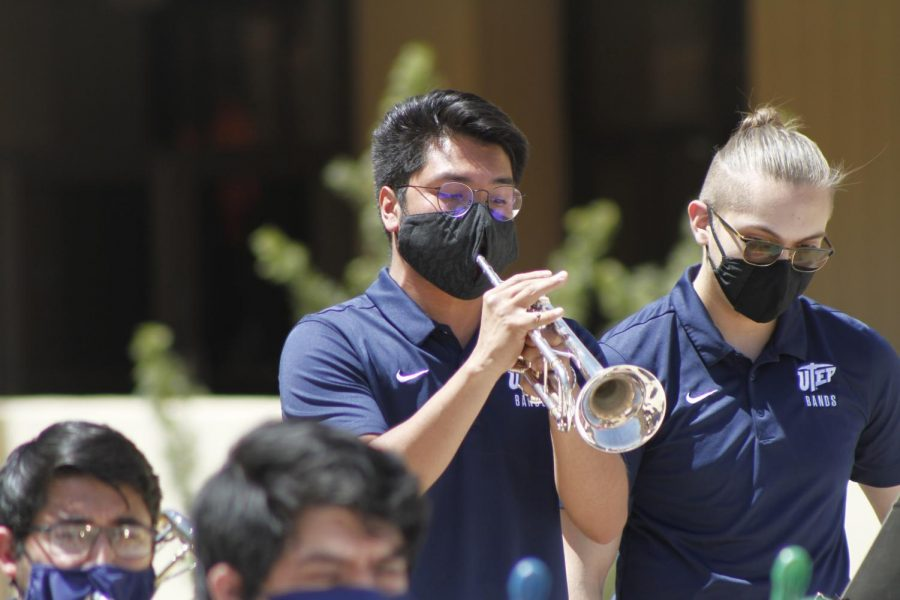 Joshua Cebollero plays the trumpet with the UTEP Jazz band UTEP at the Music On The Plaza on March 9th 2021 at the UTEP Fox Fine Arts center