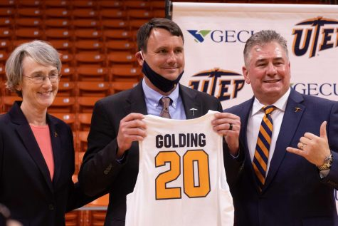 New UTEP Head Coach Joe Golding is introduced by Athletics Director Jim Senter and UTEP President Heather Wilson as the 20th coach in Miner history. April 14, 2021.