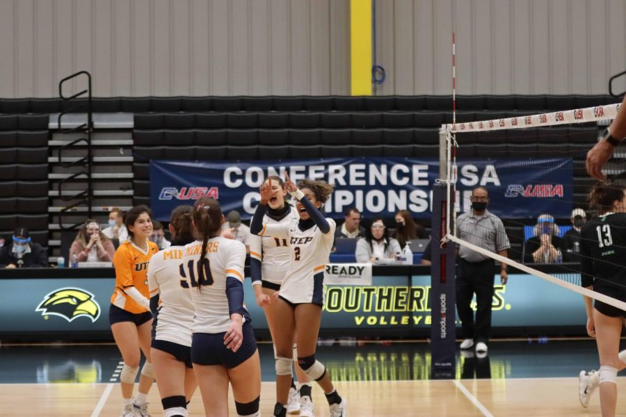 UTEP volleyball celebrates its first Conference-USA tournament victory in a decade over Marshall, April 1.