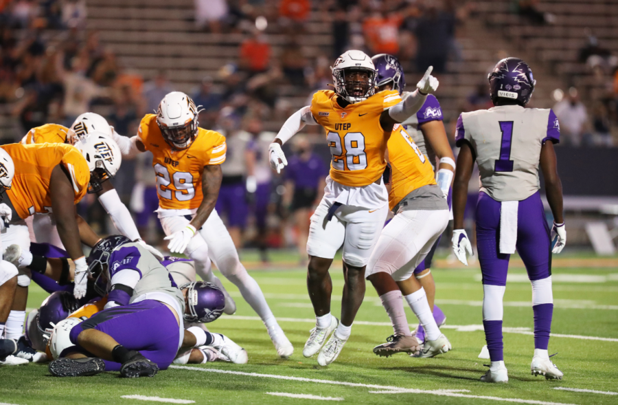 UTEP defensive back Broderick Harrel celebrates a defensive stop versus Abilene Christian Sept. 19, 2020.