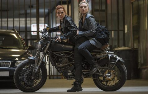 Scarlett Johansson as Black Widow/Natasha Romanoff and Florence Pugh as Yelena