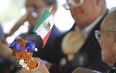 "A member of Mariachi Frontera performs ""Que bonito es Chihuahua"" at the El Grito ceremony on September 16, 2021"