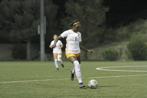 Cayla Payne clears the ball against Southern Miss on Oct. 22
