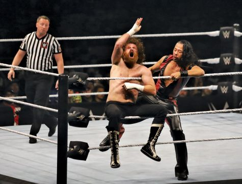 Shinsuke Nakamura kicks Sami Zayn during the Six-Man Tage Team Match held at the Don Haskins Special Events center Oct. 17.